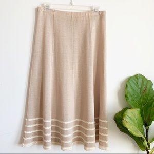Vintage Knit Midi Beige Cream Skirt Size 8
